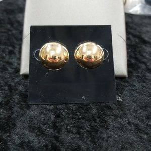 14k gold vintage button earrings